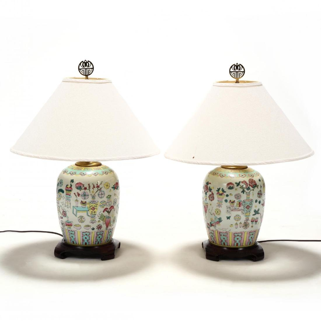A Pair of Chinese Lamps with One Hundred Antiques Motif