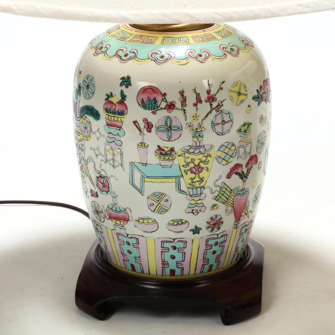 A Pair of Chinese Lamps with One Hundred Antiques Motif - 2