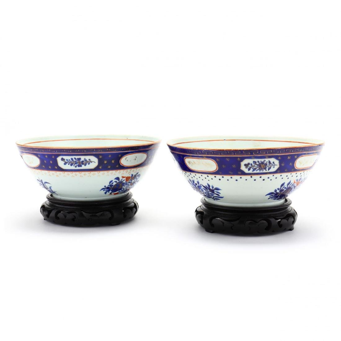 Pair of Antique Chinese Export Porcelain Bowls