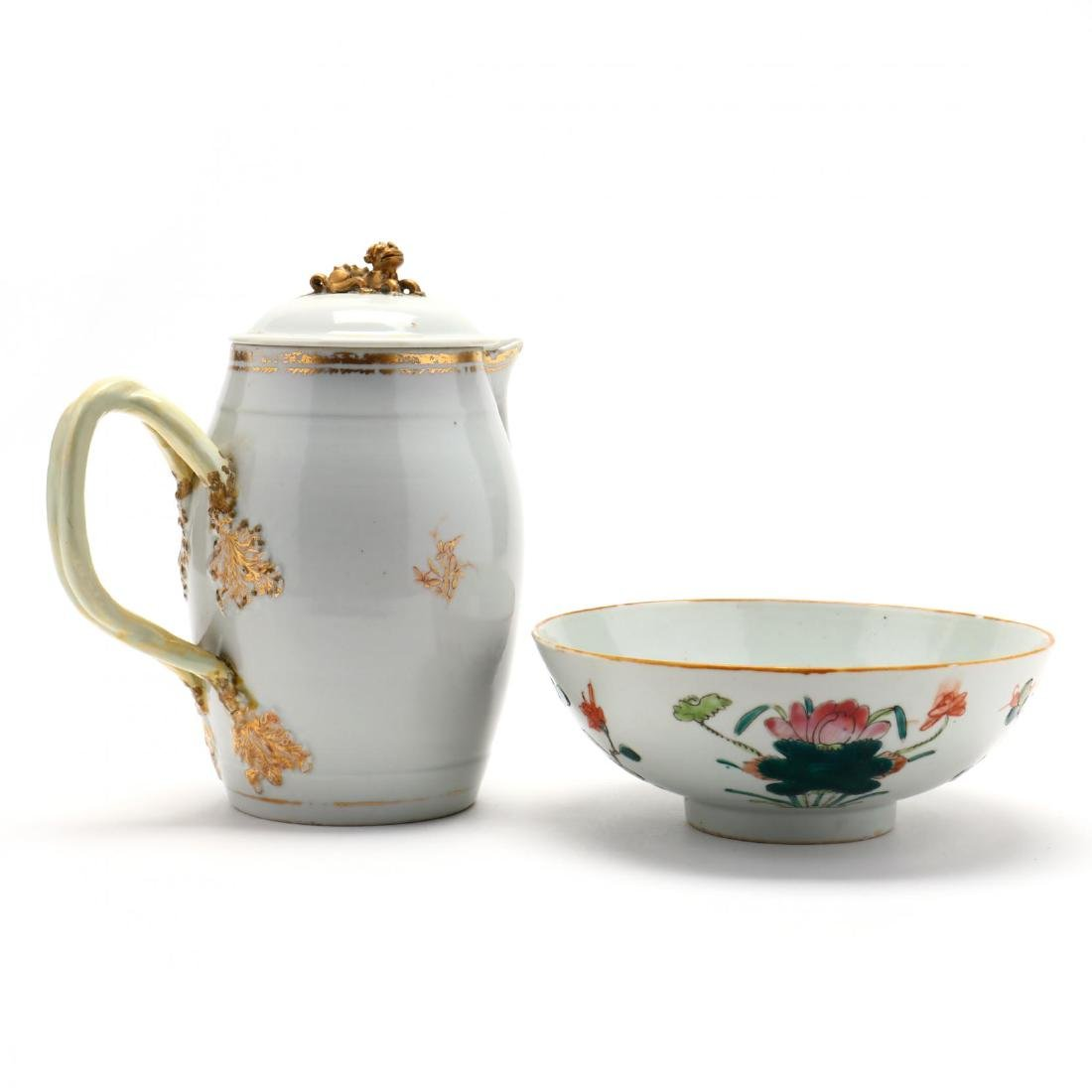 Antique Chinese Export Pitcher and Bowl