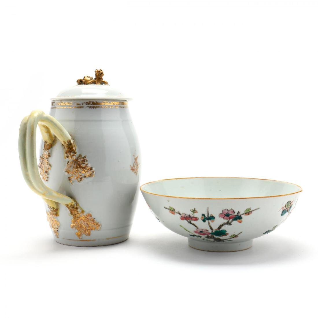 Antique Chinese Export Pitcher and Bowl - 3