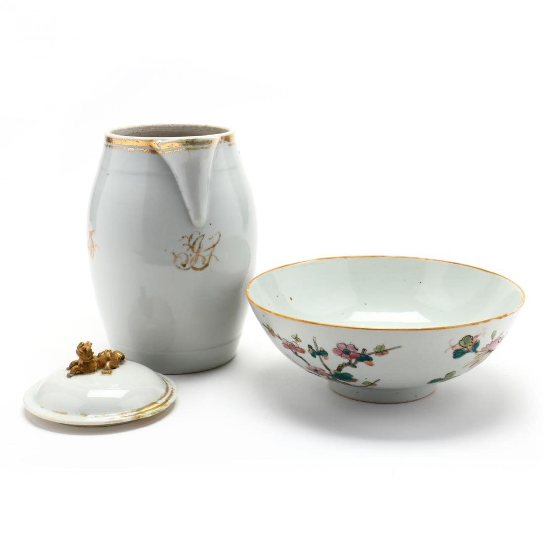 Antique Chinese Export Pitcher and Bowl - 4