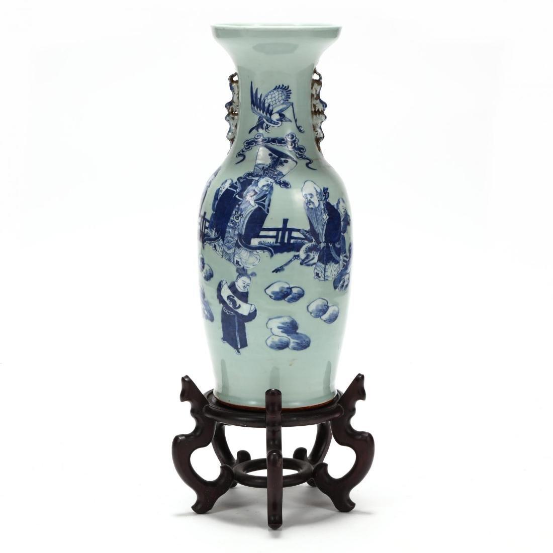 Chinese Cobalt over Celadon Floor Vase