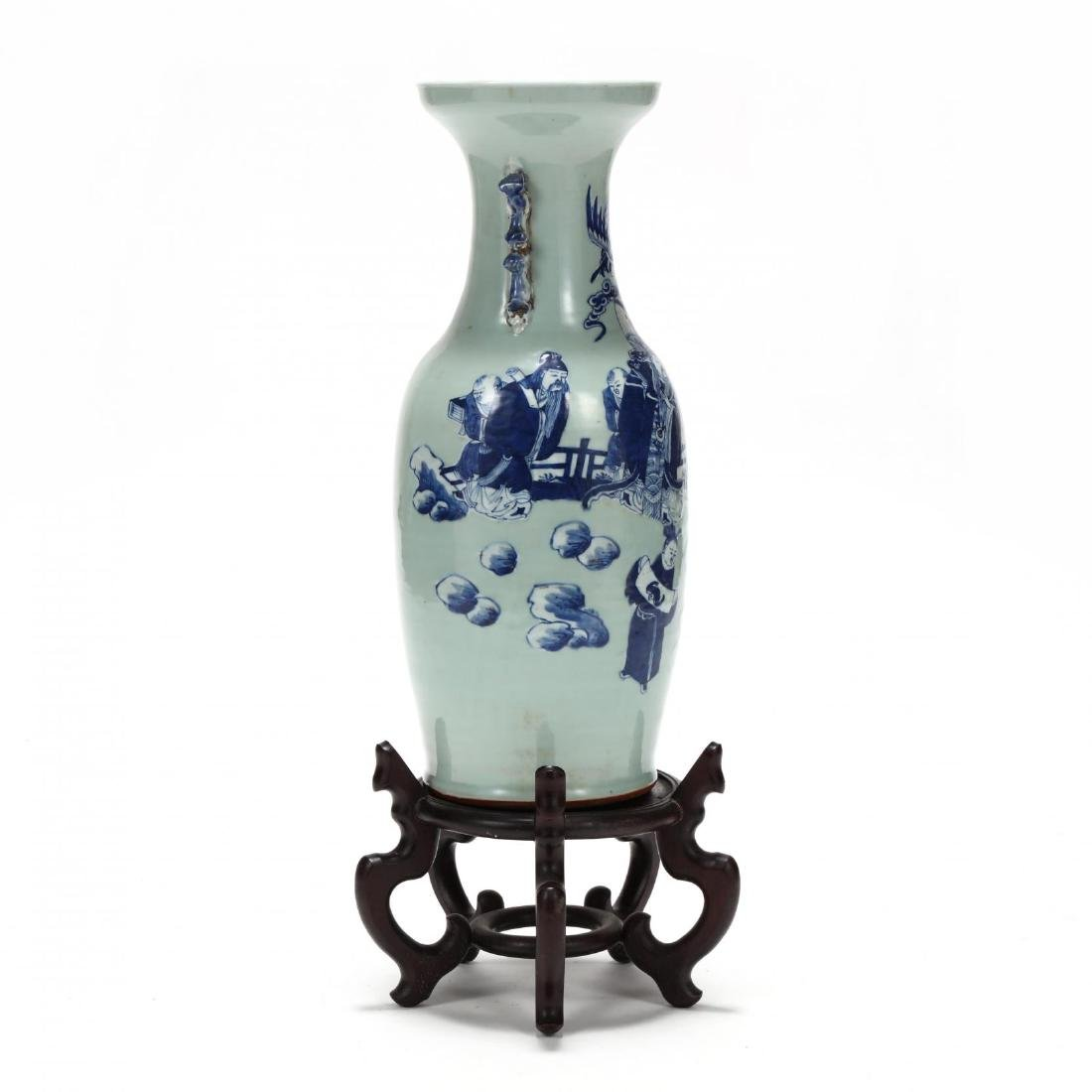 Chinese Cobalt over Celadon Floor Vase - 3