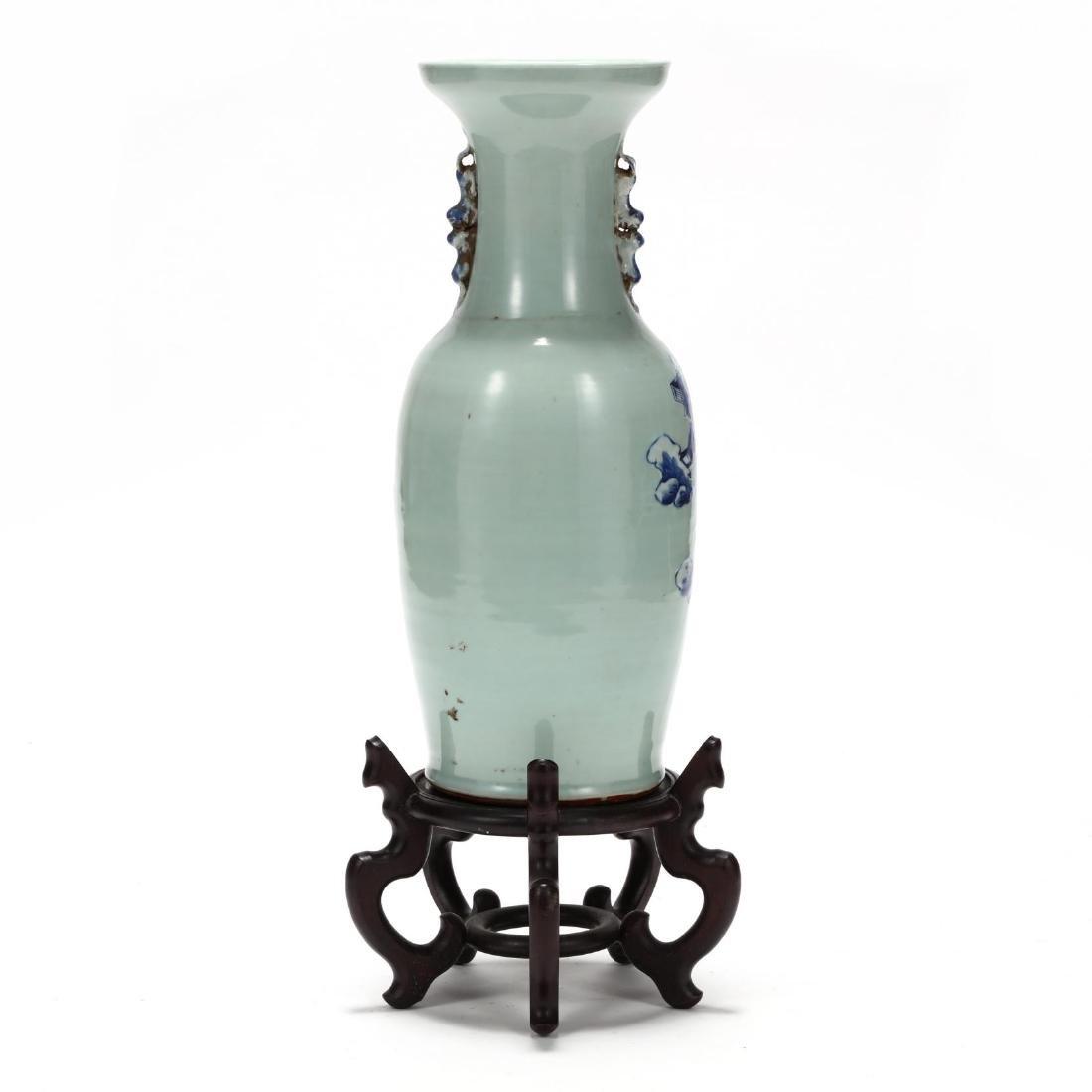 Chinese Cobalt over Celadon Floor Vase - 4