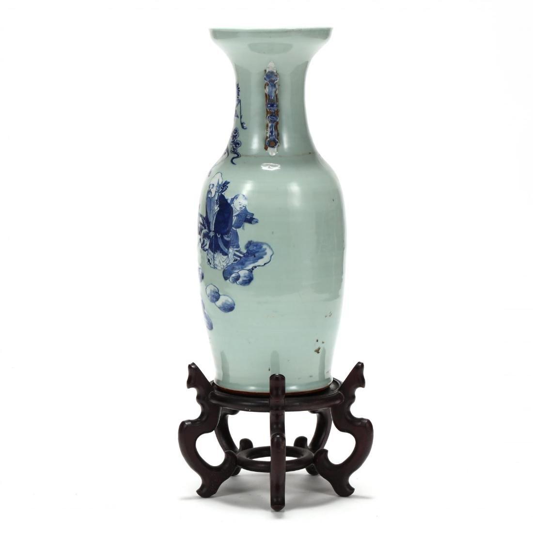 Chinese Cobalt over Celadon Floor Vase - 5