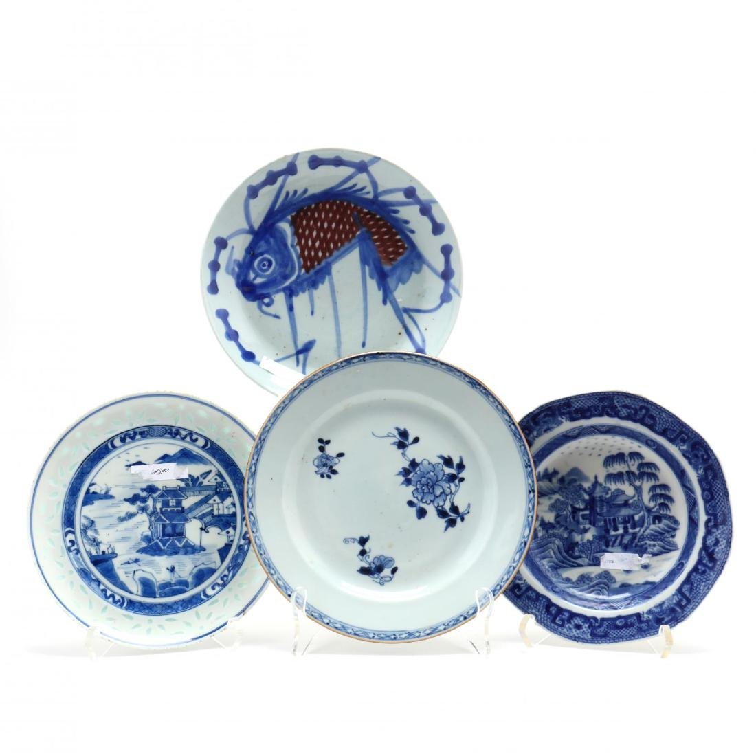 Four Chinese Export Porcelain Plates
