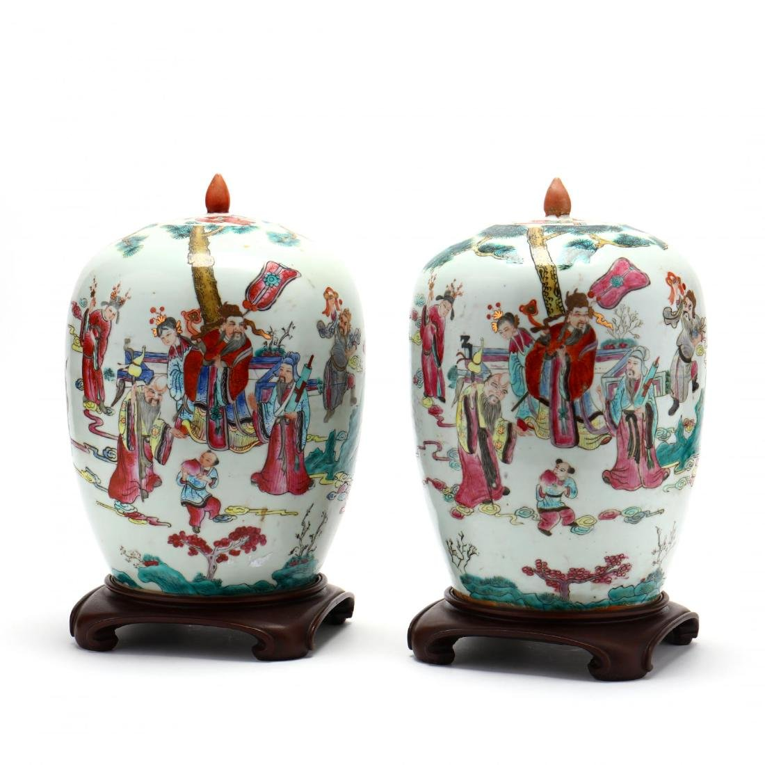 Pair of Chinese Export Porcelain Lidded Jars