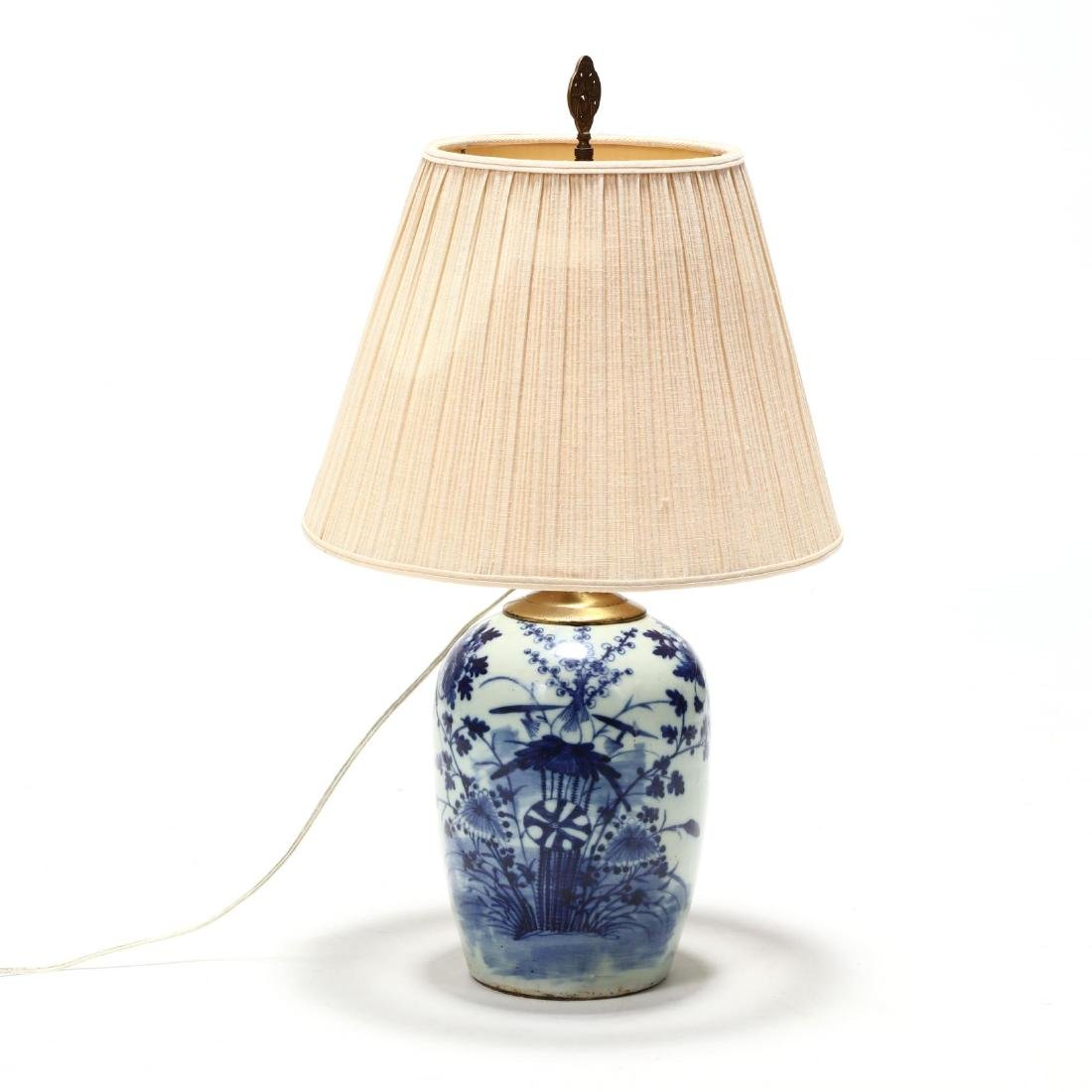 Antique Chinese Blue and White Porcelain Table Lamp
