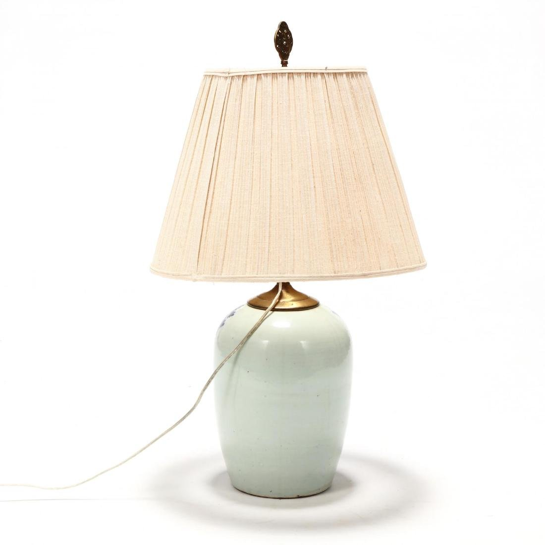 Antique Chinese Blue and White Porcelain Table Lamp - 2