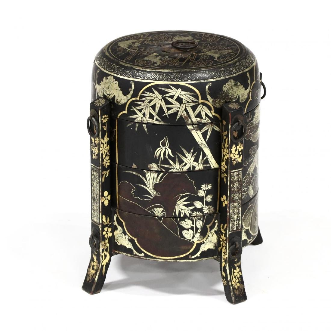 Vintage Chinese Lacquered and Gilt Basket