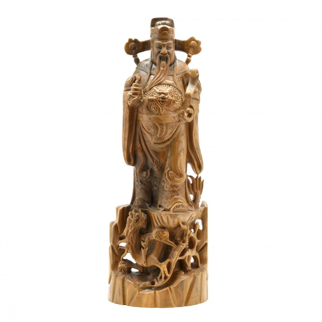 Chinese Carved Wooden Guardian Figure or Official
