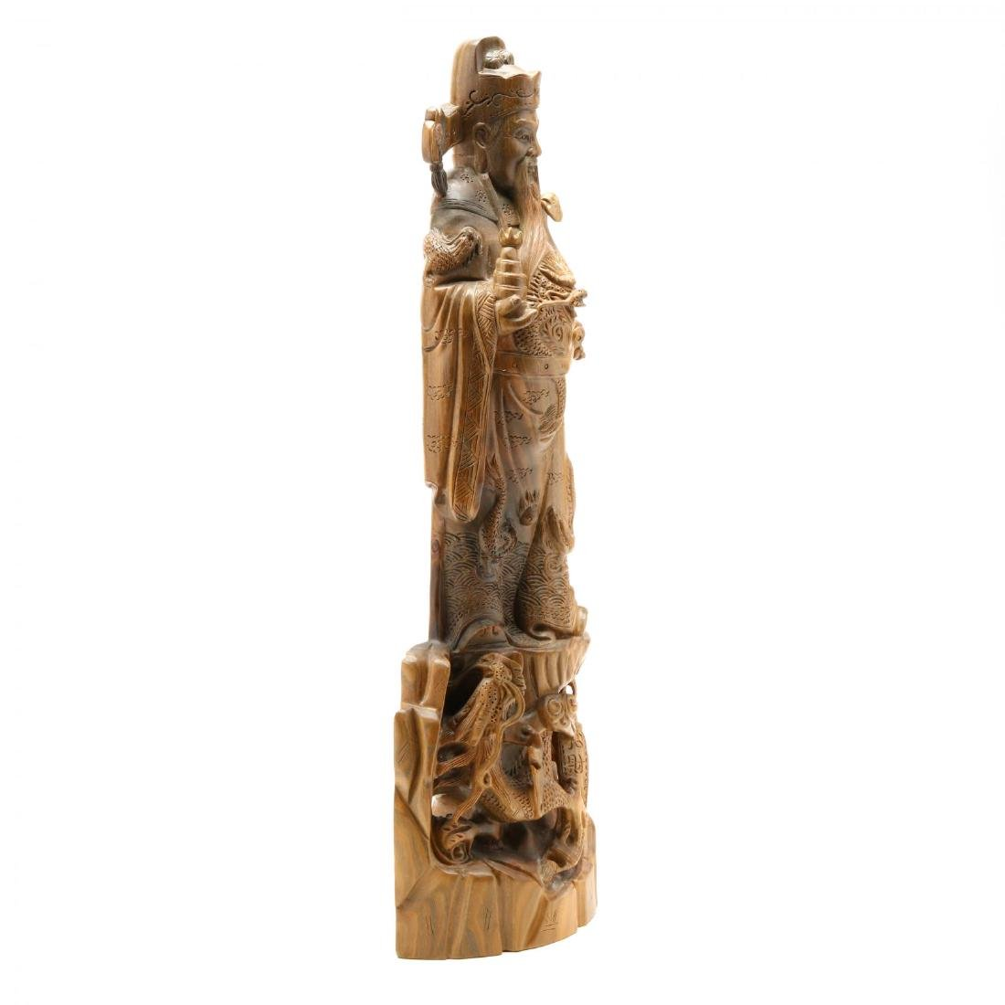 Chinese Carved Wooden Guardian Figure or Official - 2