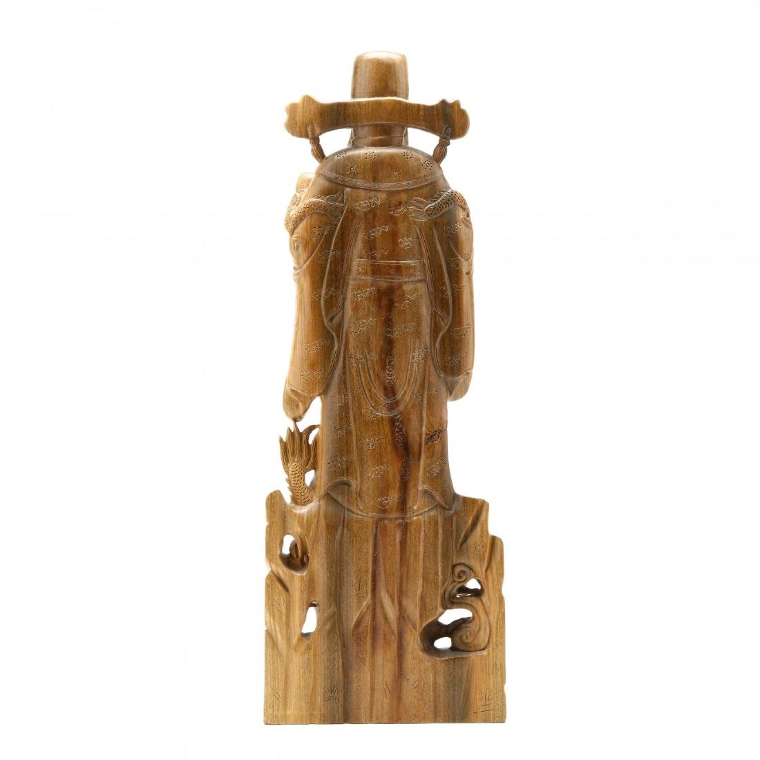 Chinese Carved Wooden Guardian Figure or Official - 4