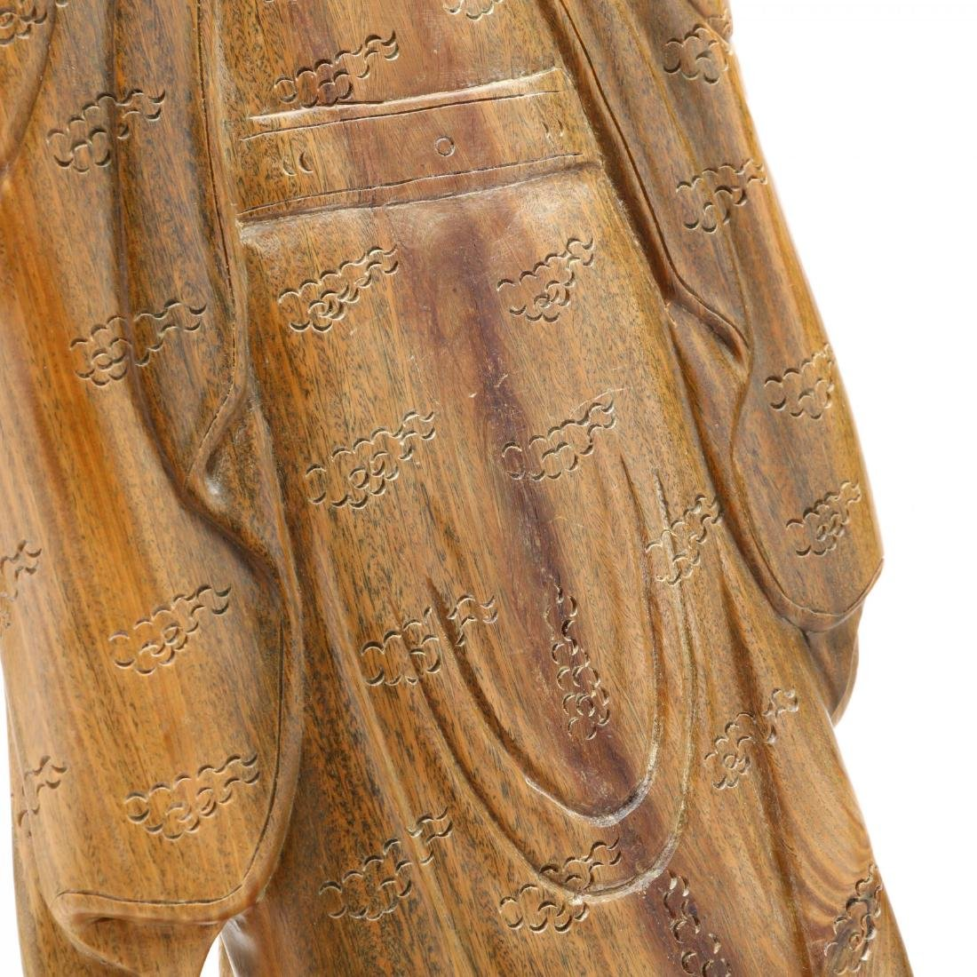 Chinese Carved Wooden Guardian Figure or Official - 5