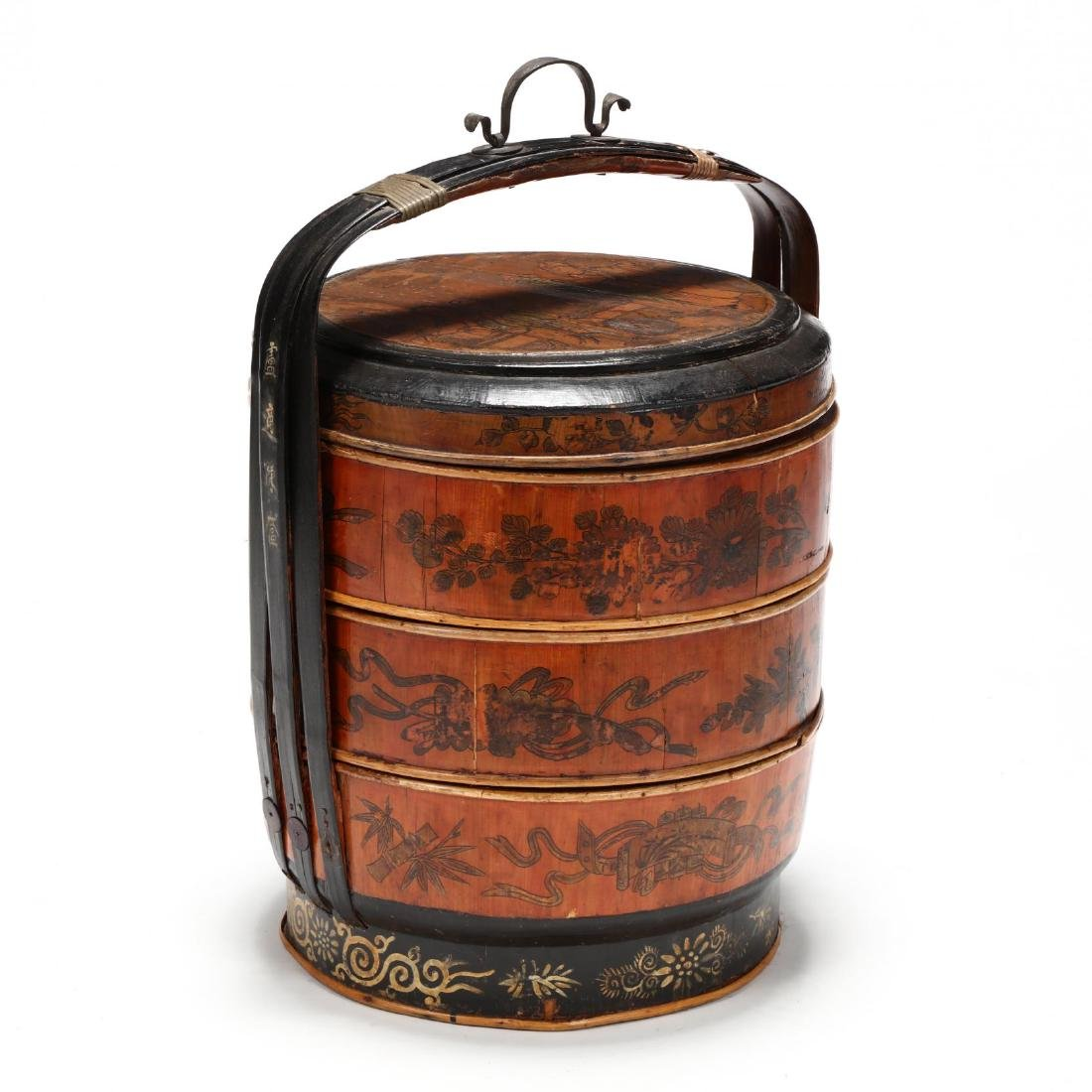 Chinese Lacquered Wedding Basket