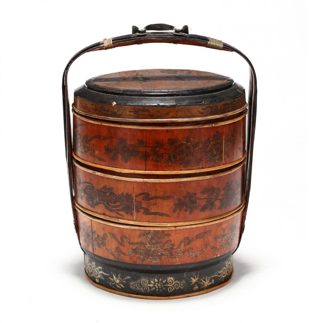 Chinese Lacquered Wedding Basket - 5