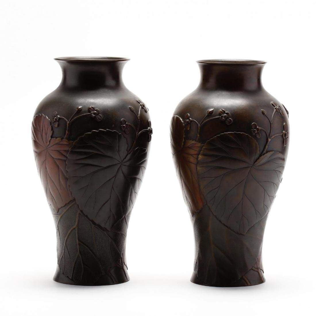 A Pair of Japanese Bronze Vases by Yoshinobu