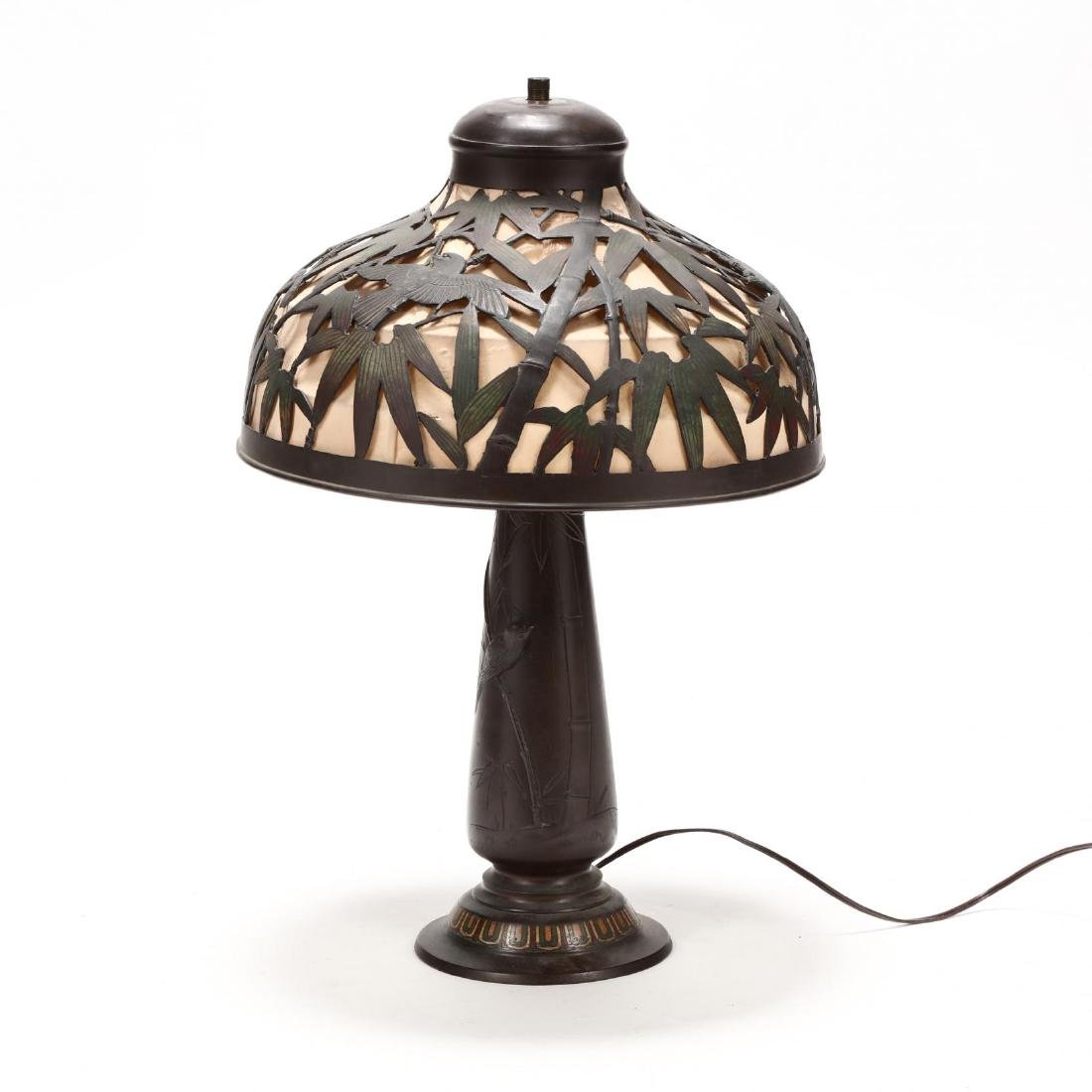 Antique Japanese Bronze Table Lamp