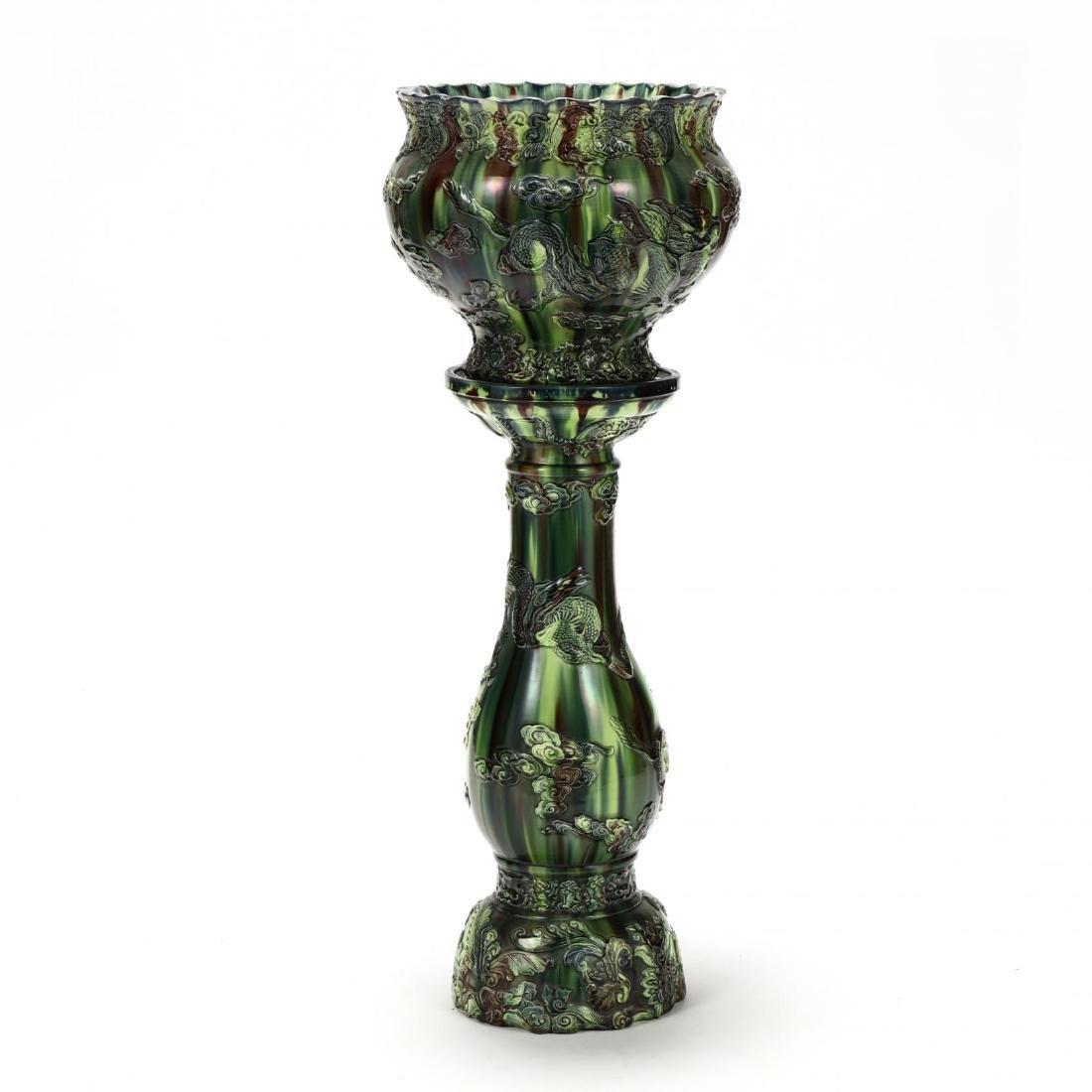 Japanese Sancai Glazed Jardiniere on Pedestal