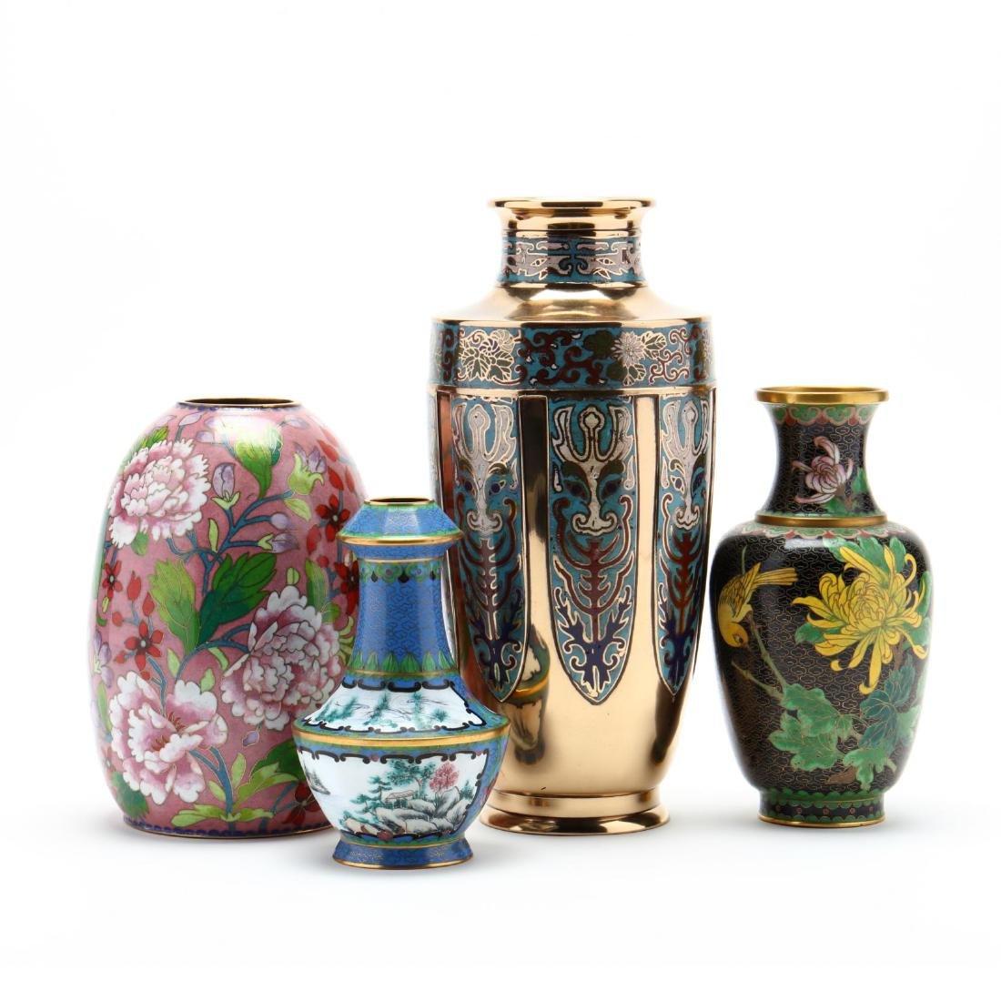 Four Asian Enameled Vases
