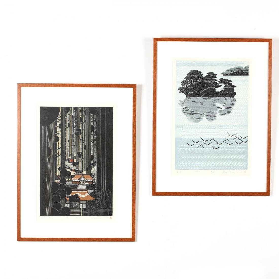 Two Japanese Woodblock Prints by Ray Morimura (b. 1948)