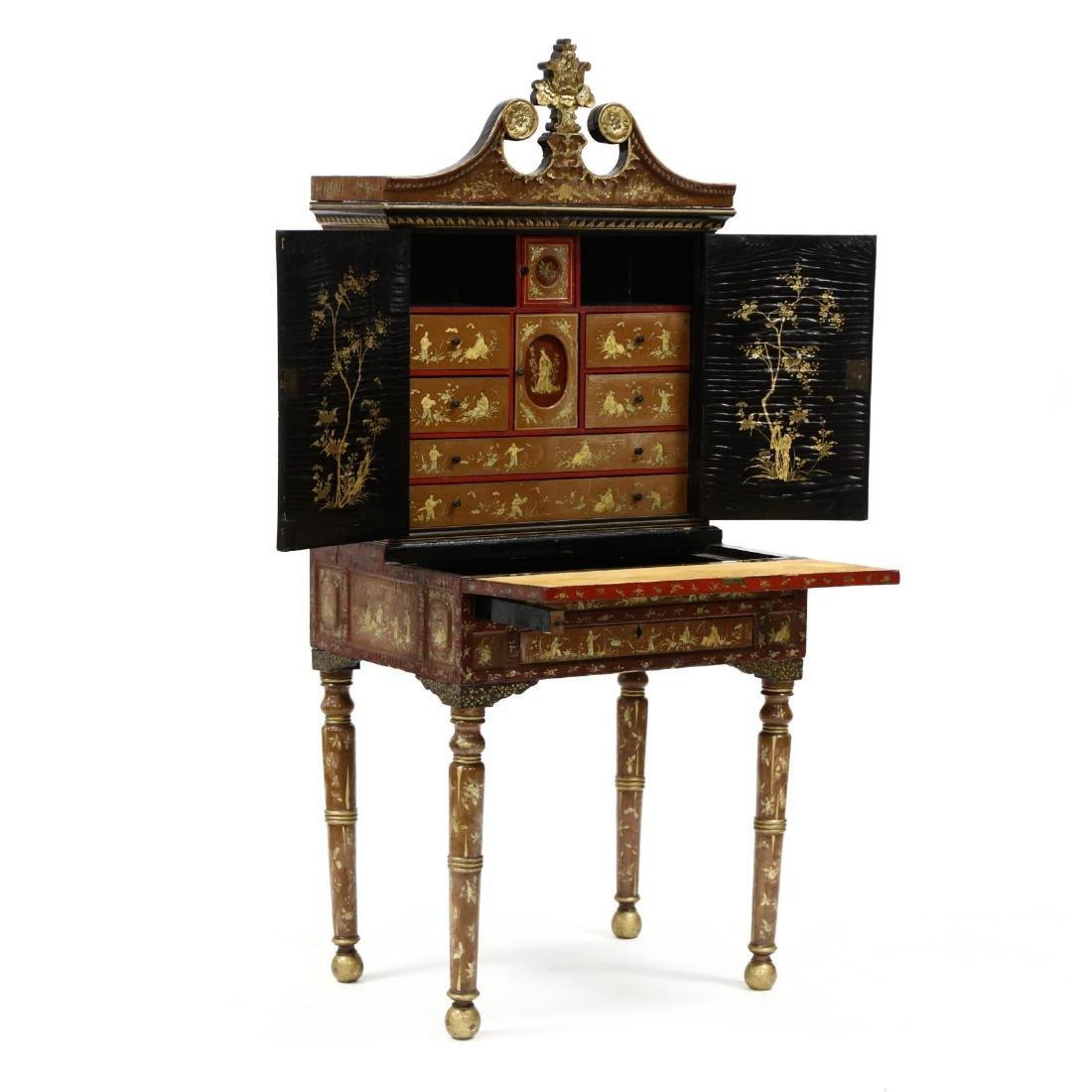 Chinese Diminutive Lacquered Secretary Bookcase - 2