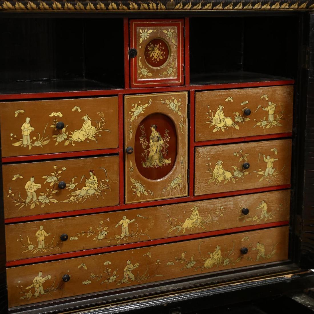 Chinese Diminutive Lacquered Secretary Bookcase - 3