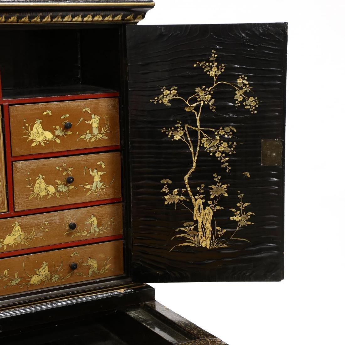 Chinese Diminutive Lacquered Secretary Bookcase - 4