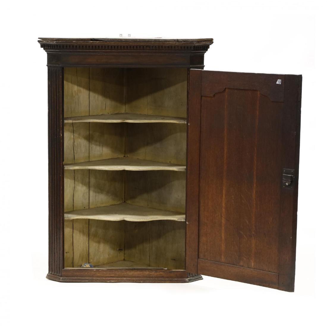 George III Carved Oak Hanging Corner Cupboard - 2