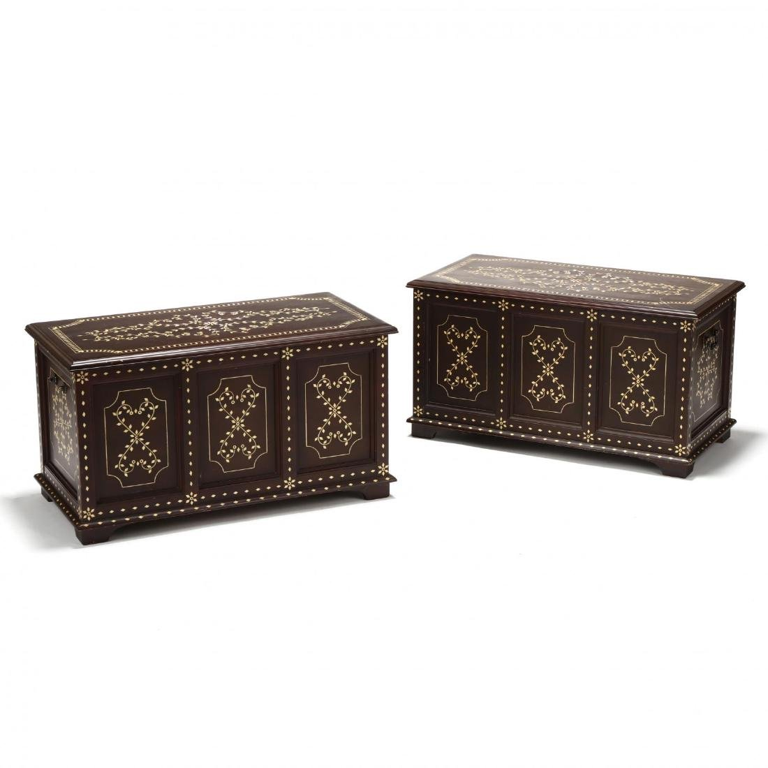Pair of Anglo Indian Inlaid Diminutive Blanket Chests