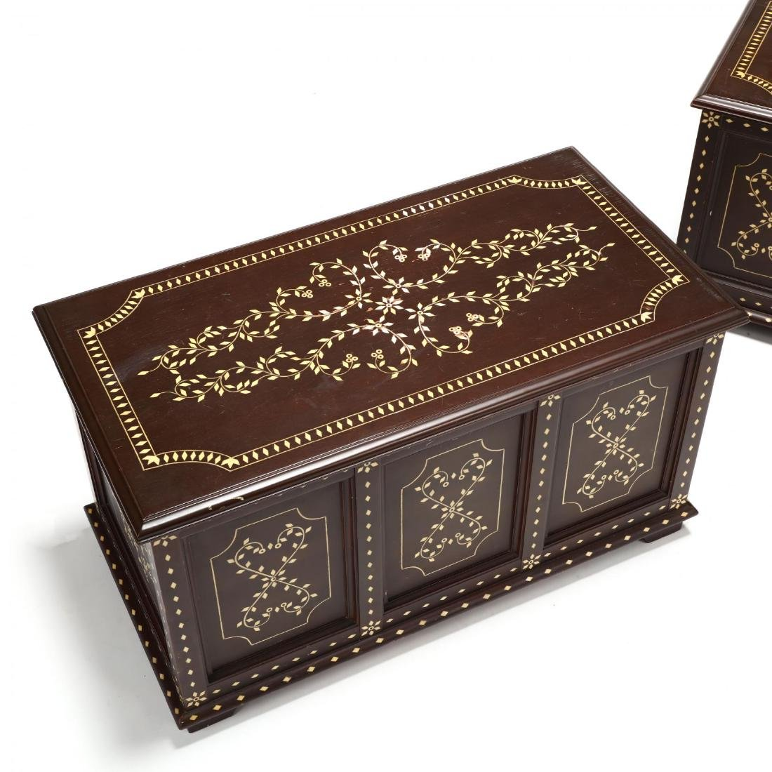 Pair of Anglo Indian Inlaid Diminutive Blanket Chests - 3