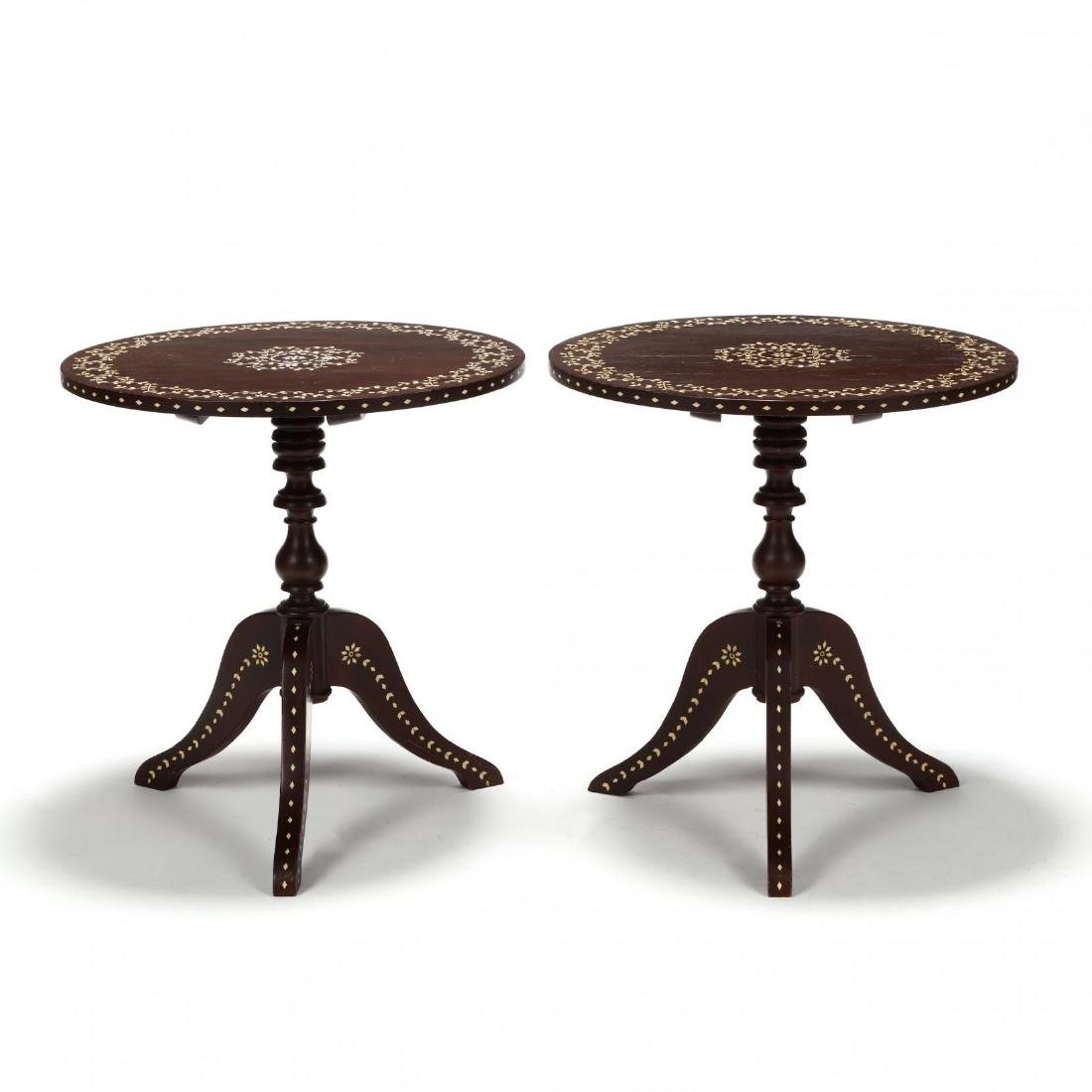 Pair of Anglo Indian Inlaid Tilt Top Tea Tables