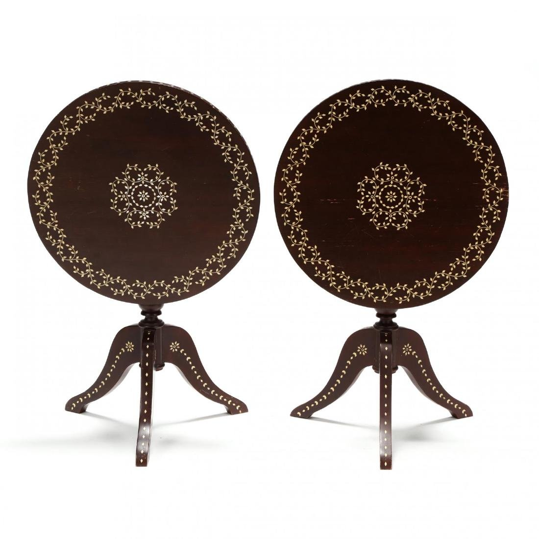 Pair of Anglo Indian Inlaid Tilt Top Tea Tables - 2
