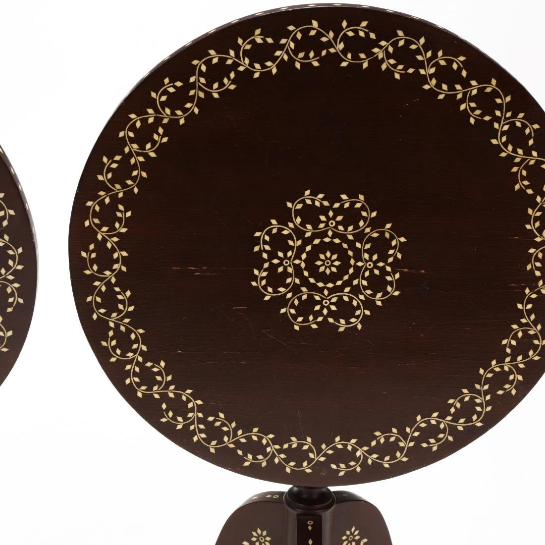 Pair of Anglo Indian Inlaid Tilt Top Tea Tables - 3