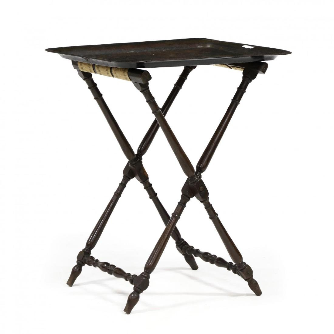 Antique Toleware Tray On Tall Stand