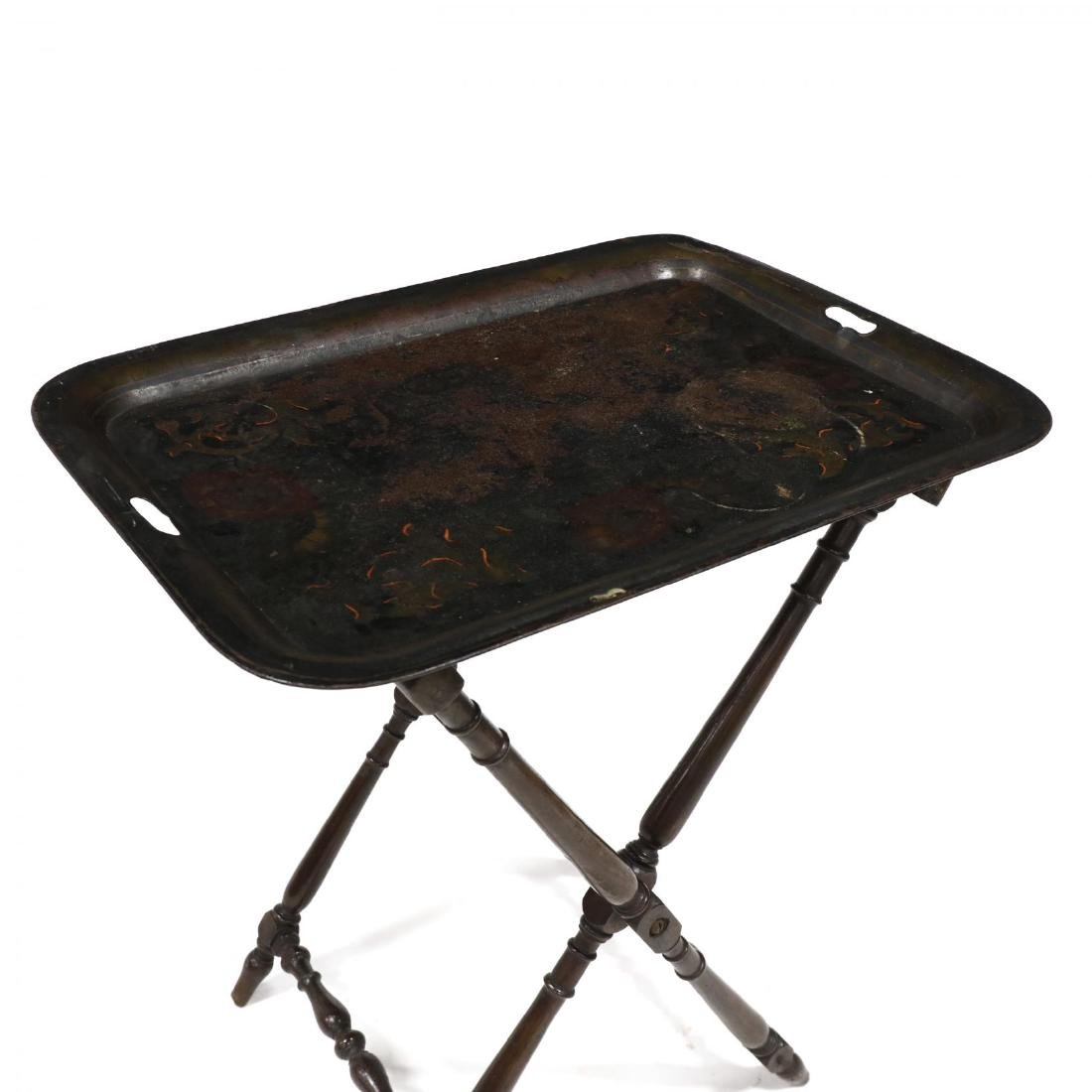 Antique Toleware Tray On Tall Stand - 2