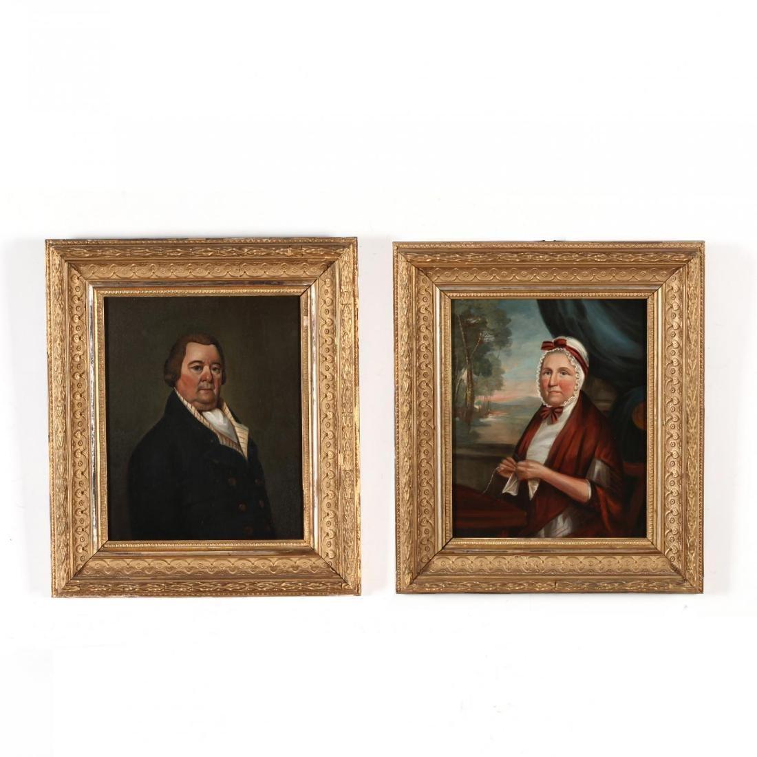 A Pair of Provincial School Portrait Paintings
