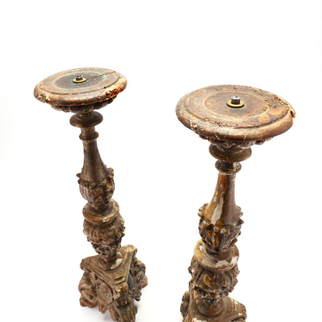 Pair of Antique Carved and Gilt Pricket Sticks - 2