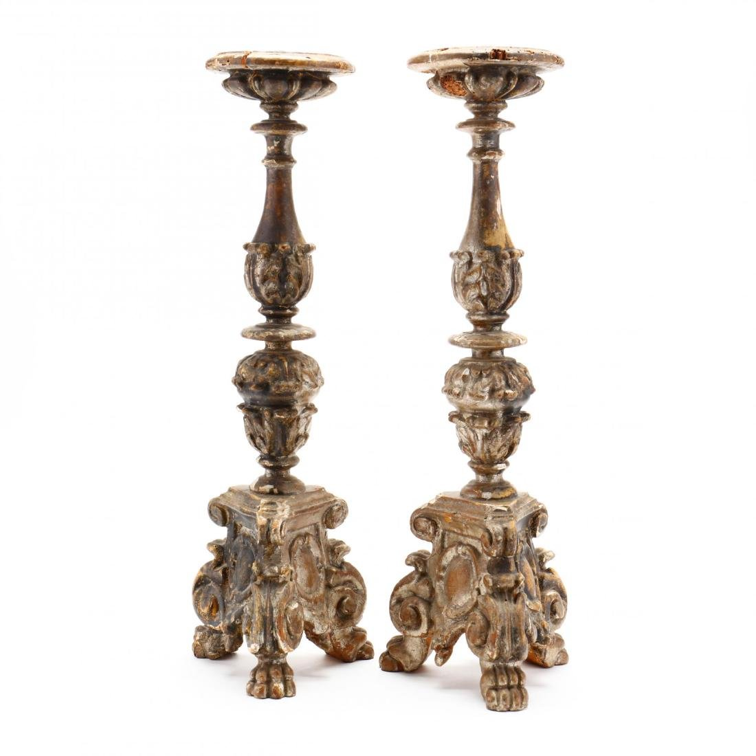 Pair of Antique Carved and Gilt Pricket Sticks - 3