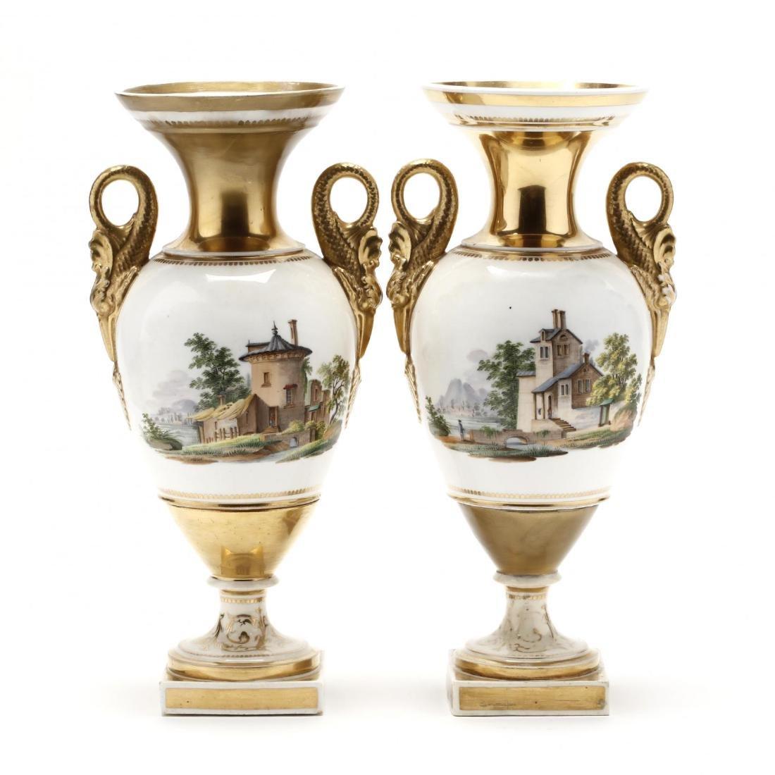 Pair of Early Swansea Gilt Vases