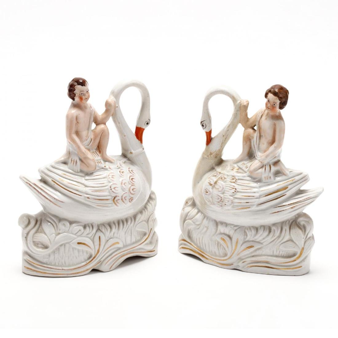 Pair of Staffordshire Figures on Swans