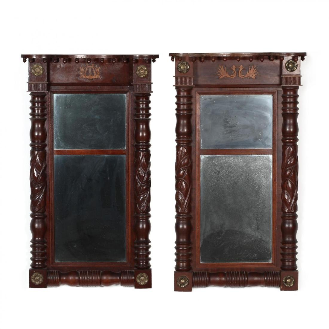 Near Pair of American Federal Carved Mahogany Mirrors
