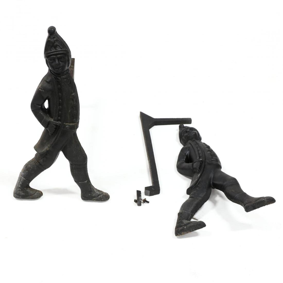 Pair of Cast Iron Hessian Soldier Andirons