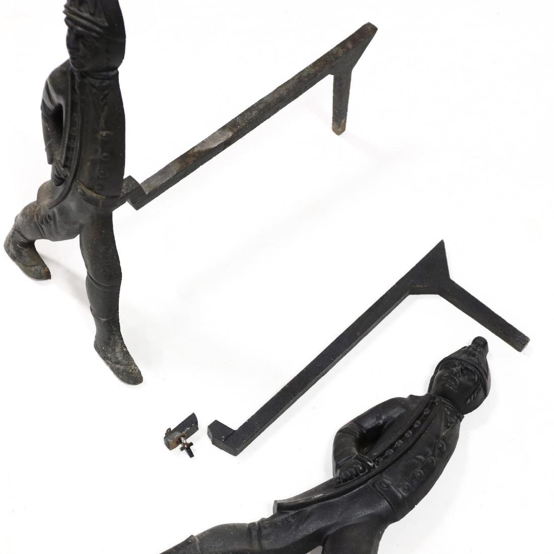 Pair of Cast Iron Hessian Soldier Andirons - 2