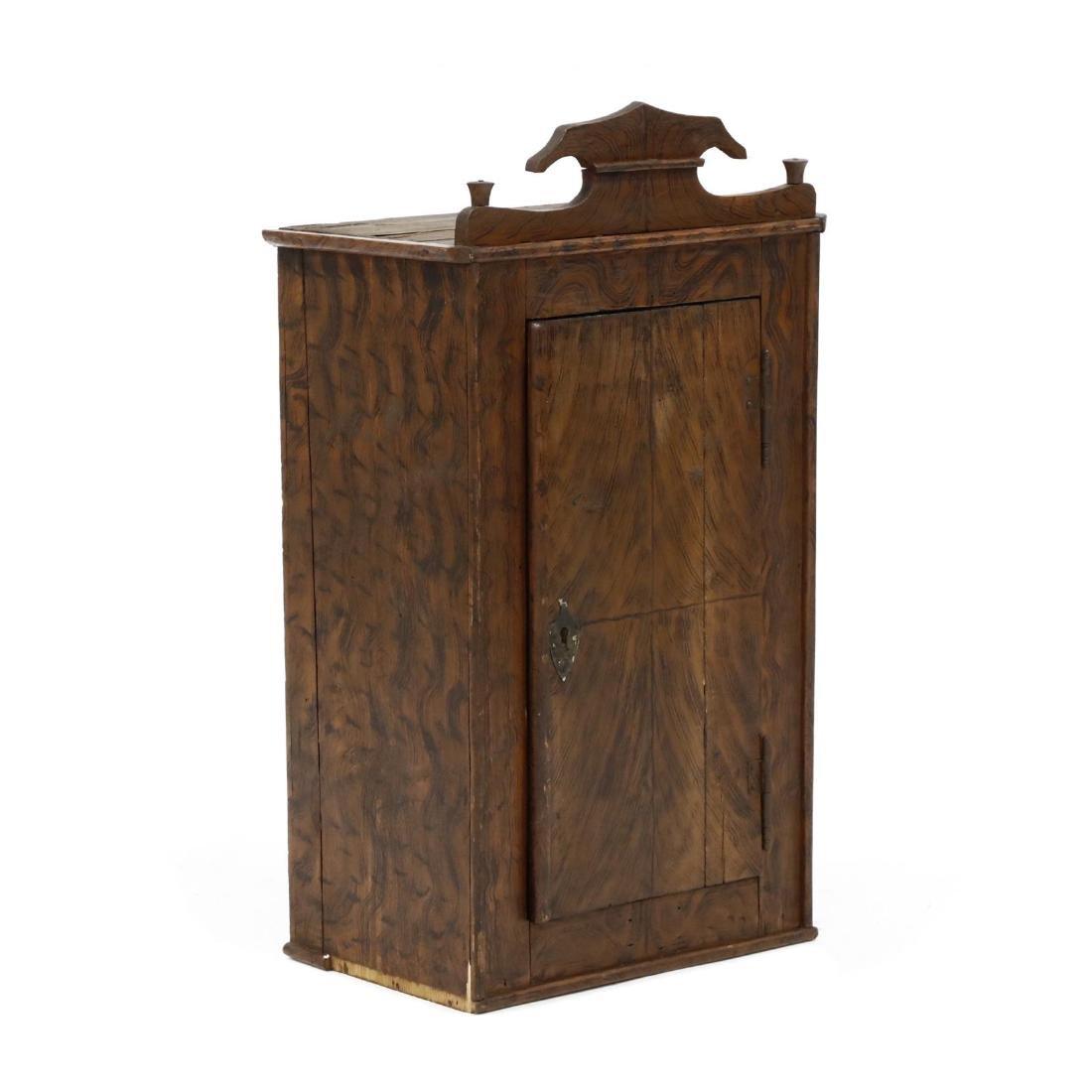Antique Grain Painted Hanging Cabinet