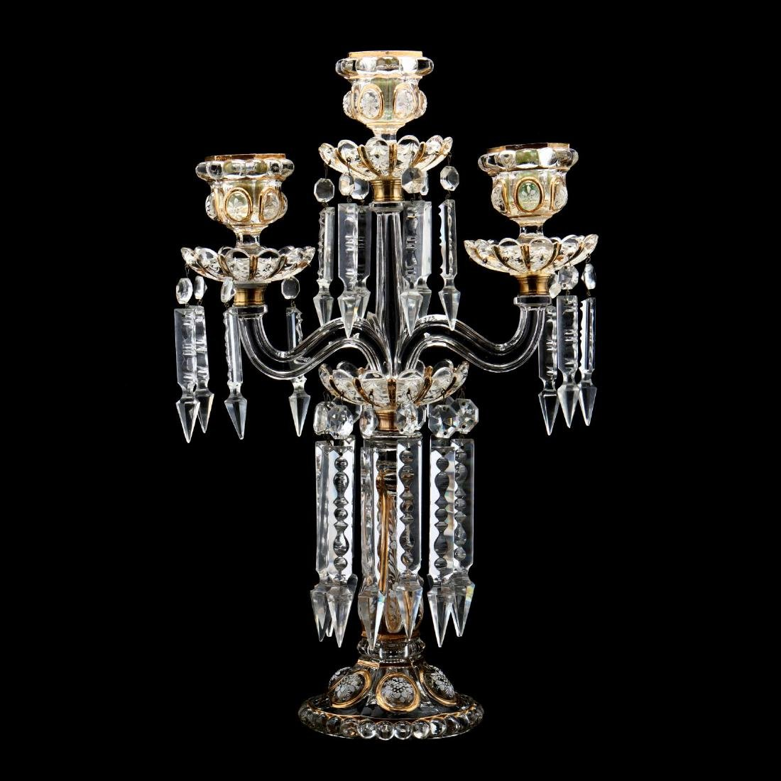 Antique Baccarat Enameled and Gilt Candelabra