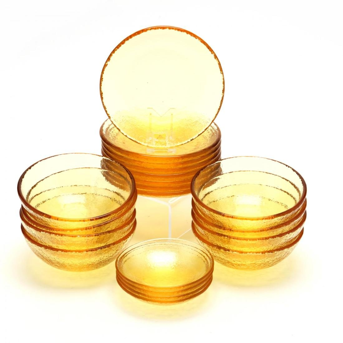 "A Set of ""Fire and Light"" Glass Tableware"