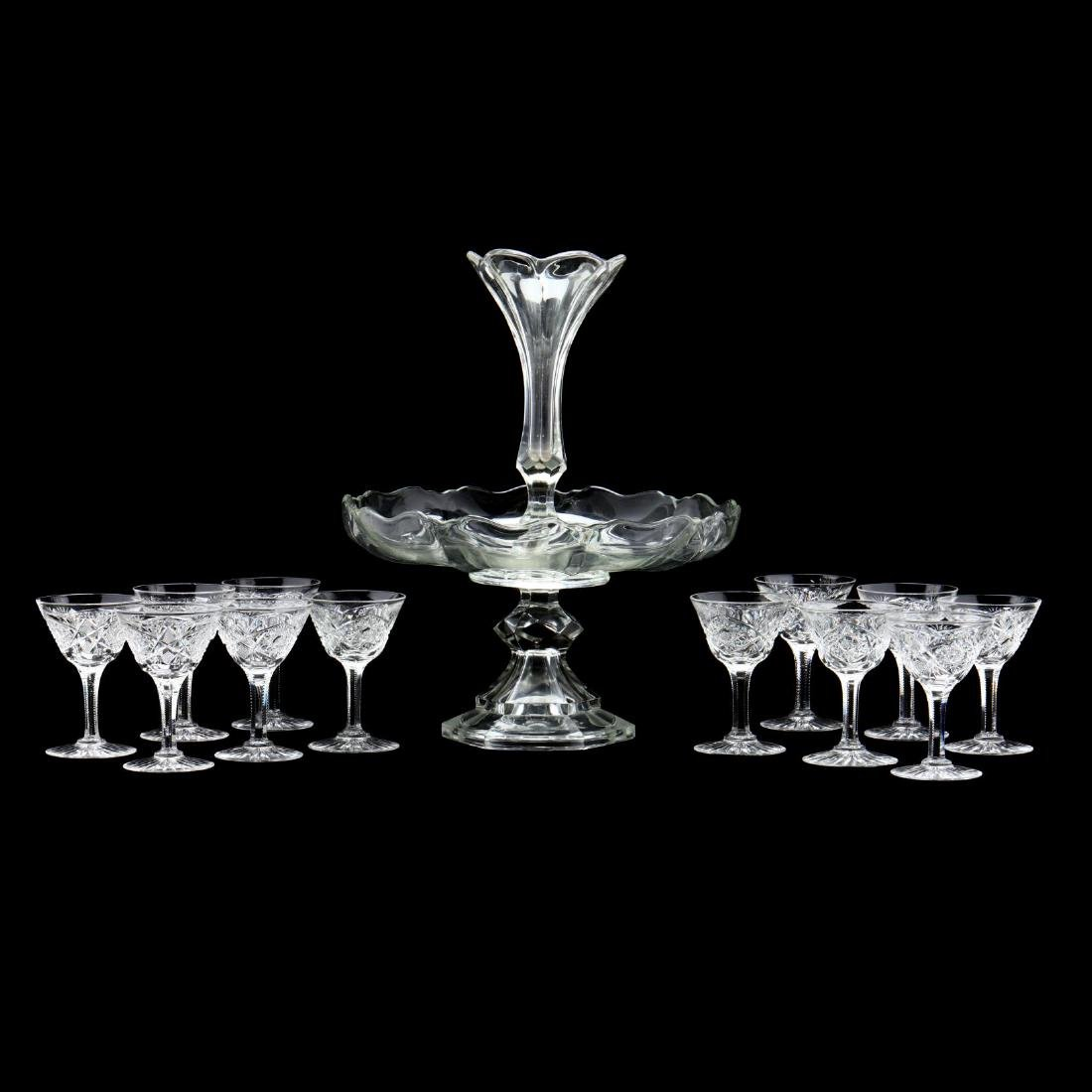Vintage Glass Epergne and Coupes