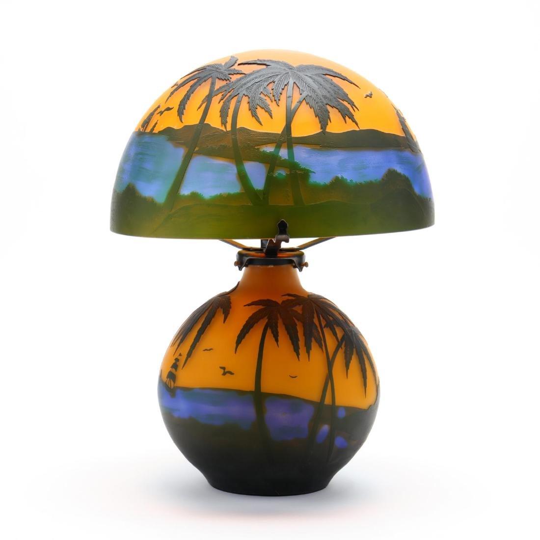 after Gallé, Cameo Glass Table Lamp